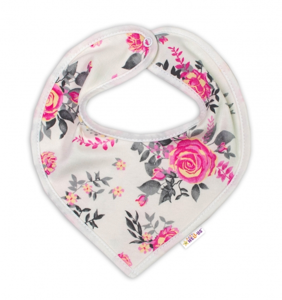 Baby Nellys Bavlněný šátek na krk New Roses - smetanový, Velikost: 50 (0-1m)