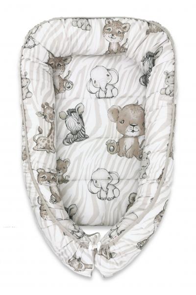 Baby Nellys Bavlněné oboustranné hnízdečko, 55x75cm, ZOO - béžová