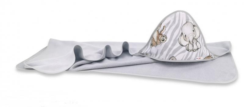 Dětská termoosuška s kapucí Baby Nellys, ZOO Natural, 100 x 100 cm, hnědá, šedá