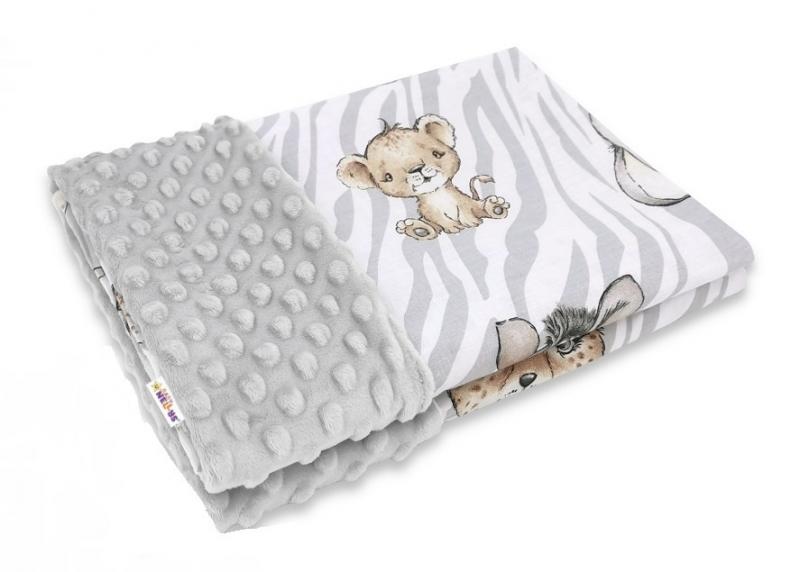 Baby Nellys Bavlněná deka s Minky 100x75cm, ZOO  Natural, šedá, hnědá