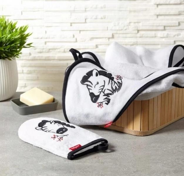 BabyOno Bambusová osuška s kapucí Zebra 85x85cm - bílá