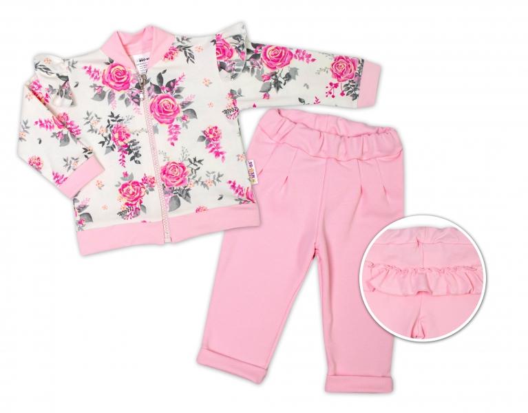 BABY NELLYS Dětská tepláková souprava s volánkem New Roses - růžová, smetanová, vel. 74