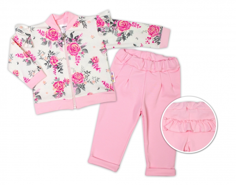 BABY NELLYS Dětská tepláková souprava s volánkem New Roses - růžová, smetanová, vel. 98