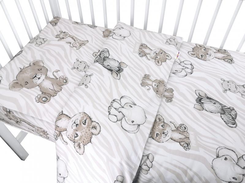 Baby Nellys 2-dílné bavlněné povlečení, ZOO - béžová, 135x100