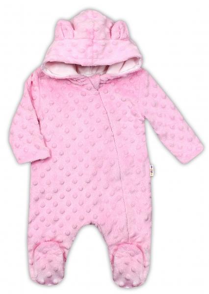Baby Nellys Kombinézka/overálek MINKY s kapucí a oušky - růžová, vel. 80, Velikost: 80 (9-12m)