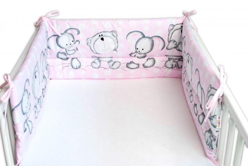 Baby Nellys Mantinel do postýlky 180x30 cm, Medvídek s králičkem Bubble - růžový