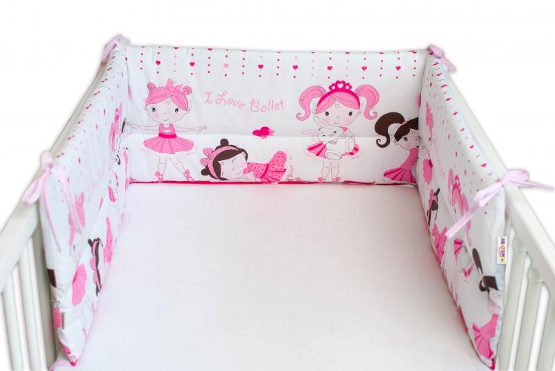 Baby Nellys Mantinel do postýlky 180x30 cm, Princess - růžový