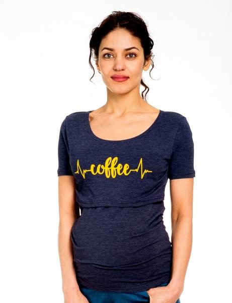 Be MaaMaa Těhotenské/kojicí triko kr. rukáv, Coffee - jeans, vel. XL