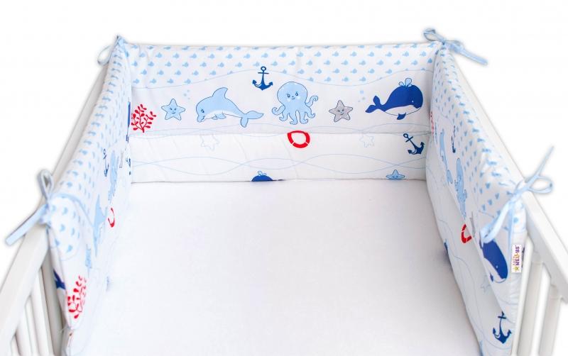 Baby Nellys Mantinel do postýlky 180x30 cm, Oceán Baby - modrý