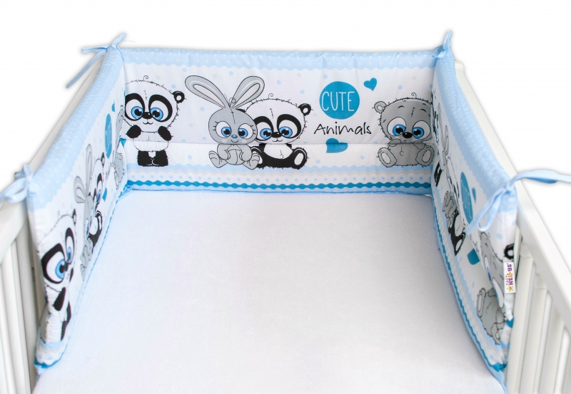 Baby Nellys Mantinel do postýlky 180x30 cm, Cute Animals - modrý