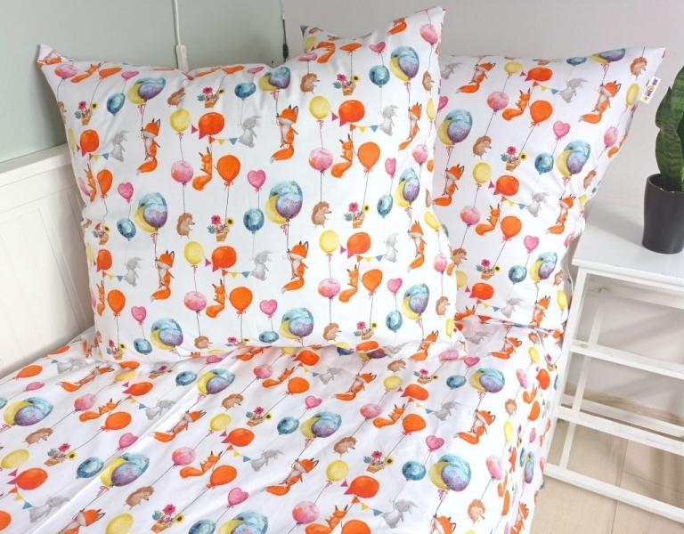 Baby Nellys 2-dílné bavlněné povlečení 140 x 200/70 x 90 - Liška a balónky, bílá