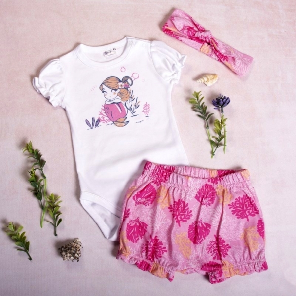 K-Baby 3dílná sada, body s kr. rukávem, kraťásky, čelenka, Mořská Panna, pink, vel. 98