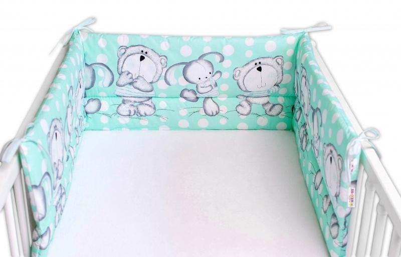 Baby Nellys Mantinel do postýlky 180x30 cm, Medvídek s králičkem Bubble - mátový
