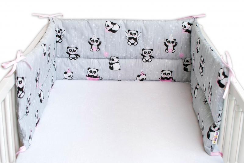 Baby Nellys Mantinel do postýlky 180x30 cm, Párty Panda - šedý