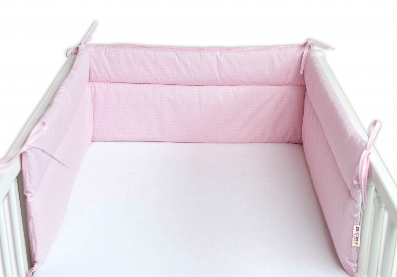 Baby Nellys Mantinel do postýlky 180x30 cm, Tečky bílé - ružový