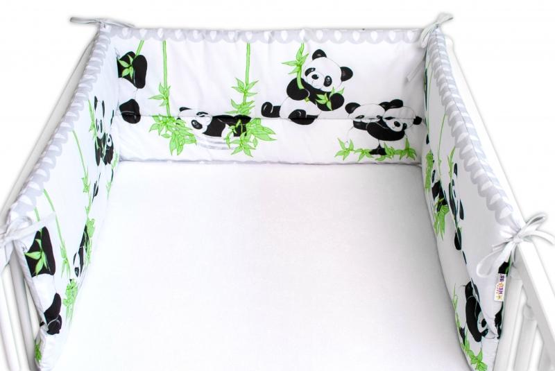 Baby Nellys Mantinel do postýlky 180x30 cm, Panda a Bambus - šedý