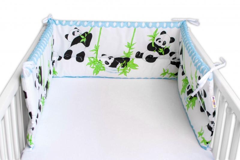 Baby Nellys Mantinel do postýlky 180x30 cm, Panda a Bambus - modrá