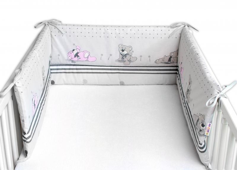 Baby Nellys Mantinel do postýlky 180x30 cm, Medvídek a pampeliška - šedý