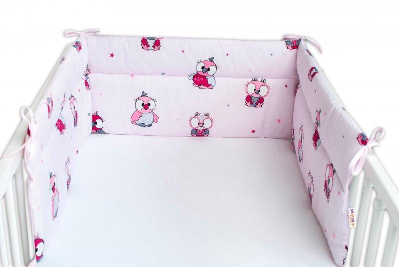 Baby Nellys Mantinel do postýlky 180x30 cm, Malé Sovičky - růžové