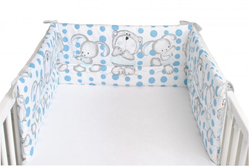 Baby Nellys Mantinel do postýlky 180x30 cm, Medvídek s králičkem Bubble - bílý