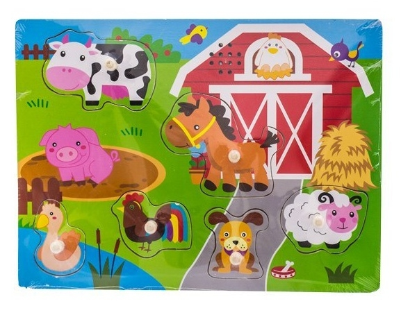 Tulimi Dřevěné zábavné puzzle vkládací - Malá farma
