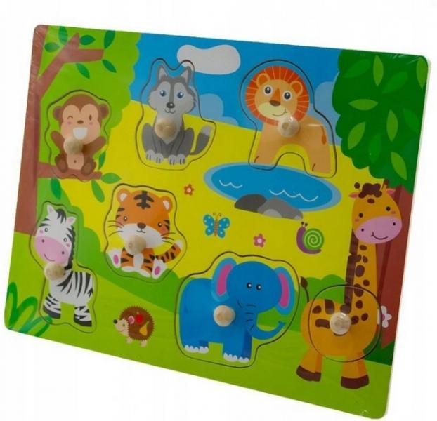 Tulimi Dřevěné zábavné puzzle vkládací - Zoo malé