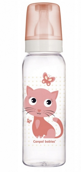 Canpol babies Lahvička s potiskem 250 ml, Kočička - růžová