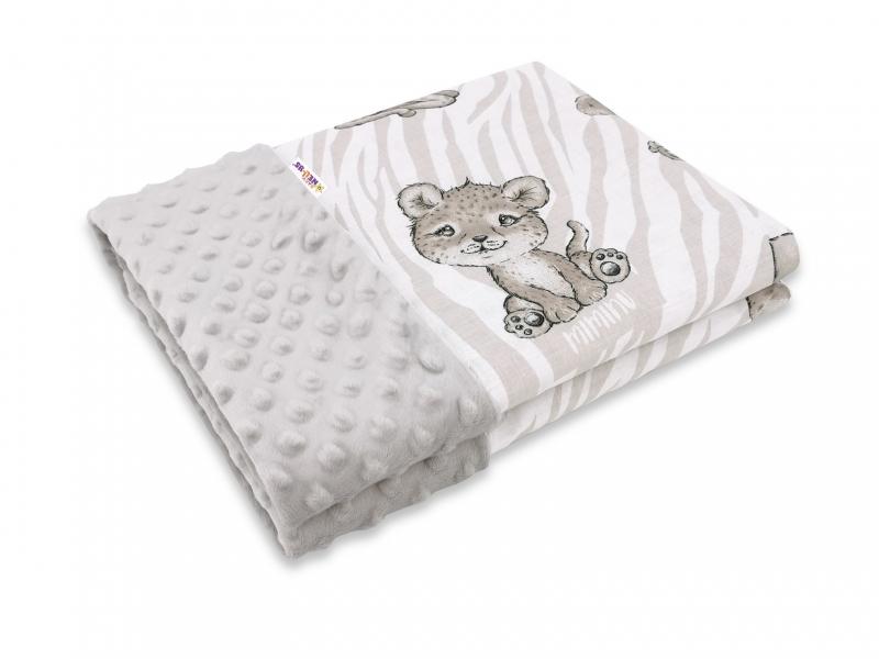 Baby Nellys Bavlněná deka s Minky 100x75cm, ZOO - béžová