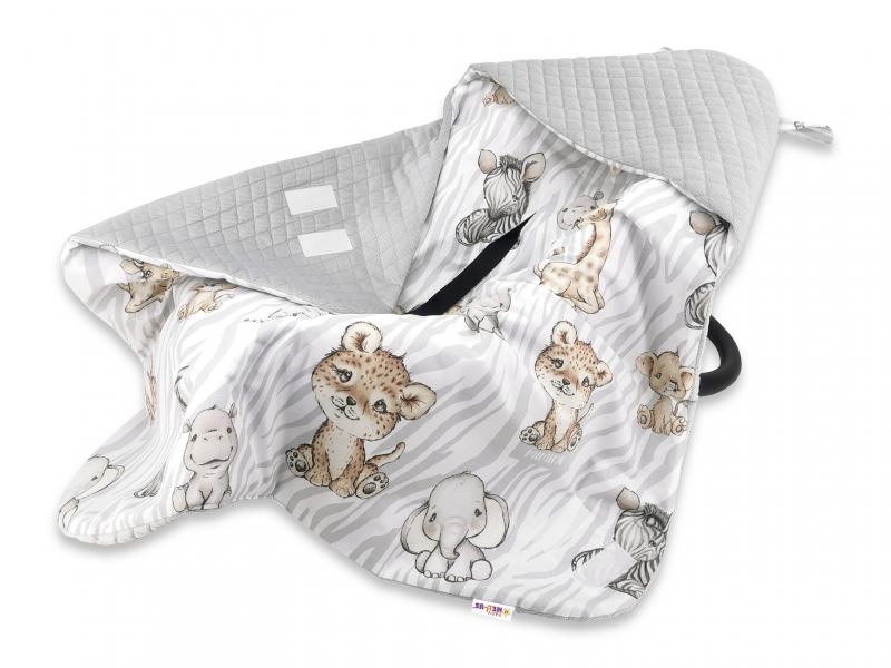 Baby Nellys Oteplená zavinovací deka s kapucí Velvet, 90x90 cm - ZOO Natural, šedá, hnědá