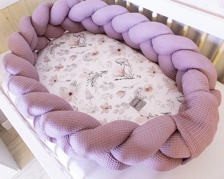 Baby Nellys Luxusní sada 2v1 hnízdečko/mantinel s výbavou Magnólie - fialová