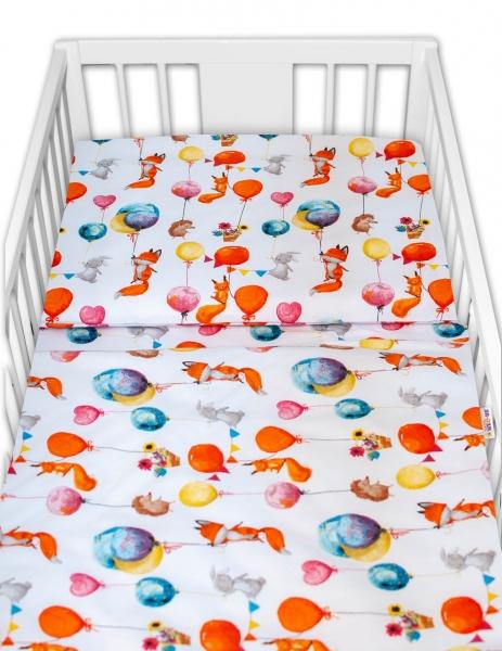 Baby Nellys 2-dílné bavlněné povlečení - Liška a balónky, bílá, 135x100
