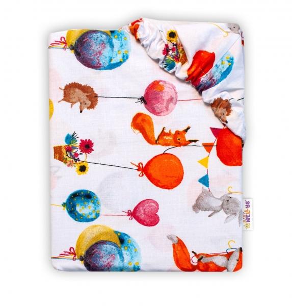 Baby Nellys Bavlněné prostěradlo 60 x 120 -  Liška a balónky, bílá