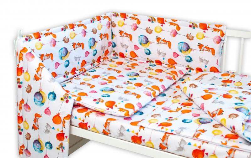 Baby Nellys 3-dílná sada Mantinel s povlečením - Liška a balónky, bílá, Velikost: 120x90