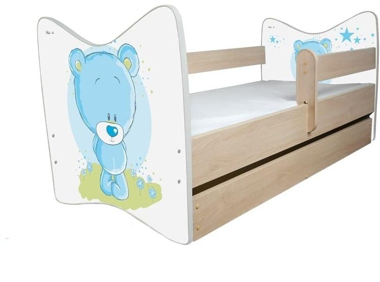 BabyBoo Dětská postýlka LUX Medvídek STYDLÍN modrý 140x70 cm + ŠUPLÍK