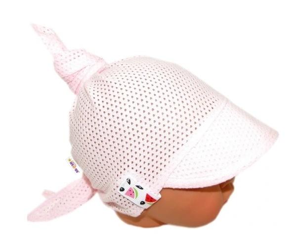 Baby Nellys Dětský síťkovaný šátek s kšiltem na zavazování, meloun - sv. růžová