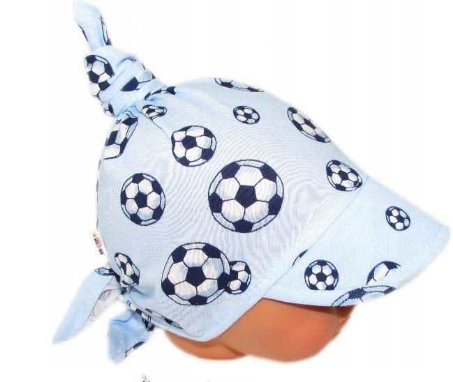Baby Nellys Dětský bavlněný šátek s kšiltem na zavazování, míče - sv. modrá