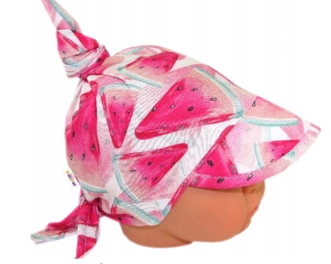 Baby Nellys Dětský bavlněný šátek s kšiltem na zavazování, meloun - růžová, Velikost: univerzální