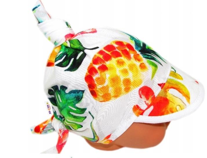 Baby Nellys Dětský bavlněný šátek s kšiltem na zavazování, Ananas, listy - bílý, Velikost: univerzální