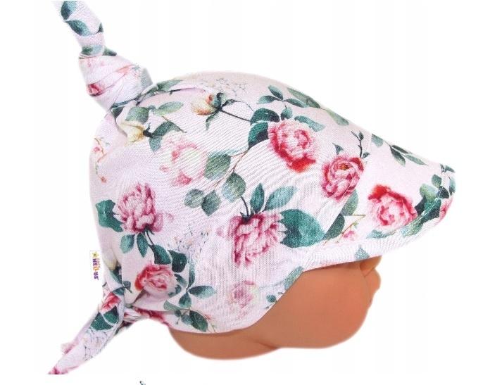 Baby Nellys Dětský bavlněný šátek s kšiltem na zavazování, poupata - sv. růžová, Velikost: univerzální