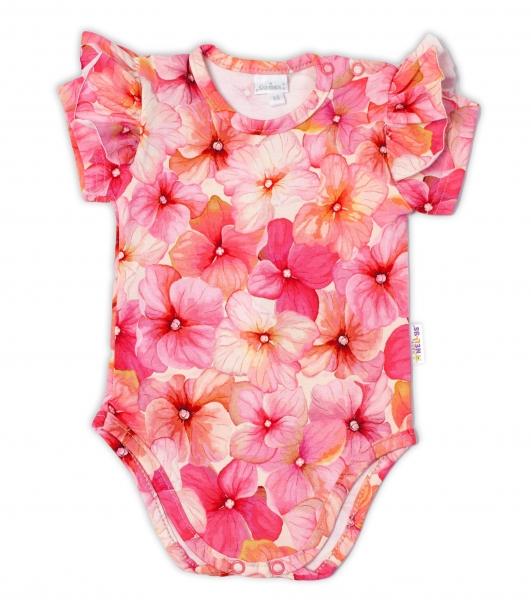 G-baby Kojenecké body kr. rukáv s volánkem Orchidej - růžová