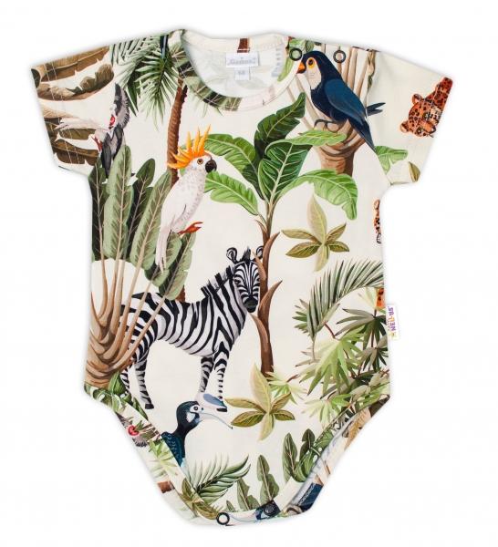 G-baby Kojenecké body kr. rukáv s potiskem Safari - zelené