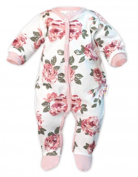 Baby Nellys Overálek Růže se vzorem, zapínání uprostřed, pudrová/ecru vel. 62