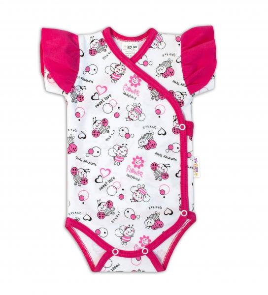 Baby Nellys Body kr. rukáv s volánkem, zap. bokem - Beruška se vzorem bílá/růžová vel. 62