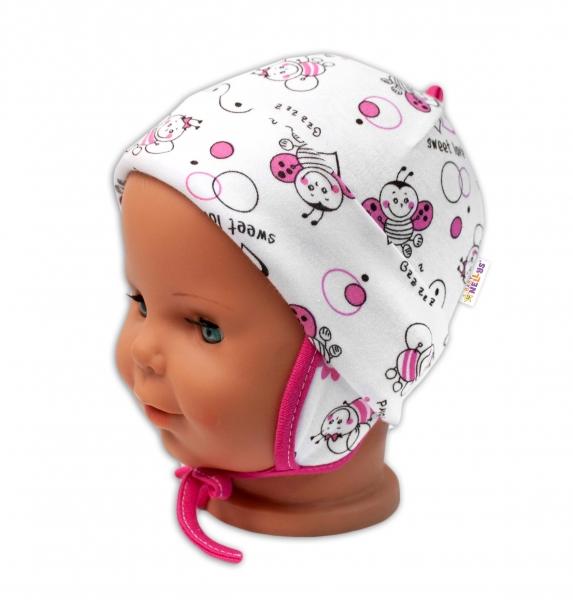 Baby Nellys Bavlněná čepička s oušky na zavazování - Beruška, bílá