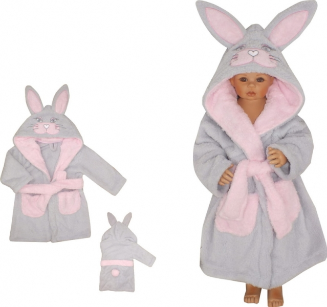 Z&Z Luxusní chlupáčkový župan s kapucí a páskem, Zajíček - růžový
