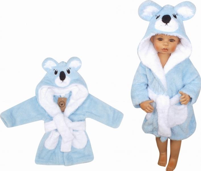 Z&Z Luxusní chlupáčkový župan s kapucí a páskem, Koala - modrá, vel. 98