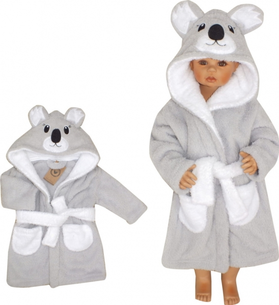 Z&Z Luxusní chlupáčkový župan s kapucí a páskem, Koala - šedá