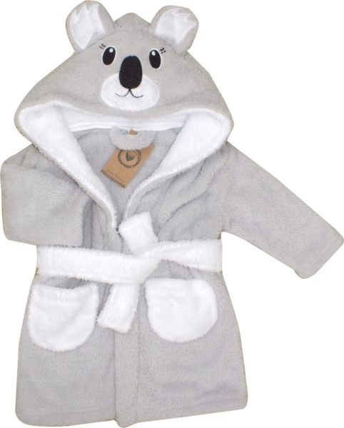 Z&Z Luxusní chlupáčkový župan s kapucí a páskem, Koala - šedá, vel. 92