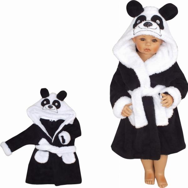 Z&Z Luxusní chlupáčkový župan s kapucí a páskem, Panda - černá