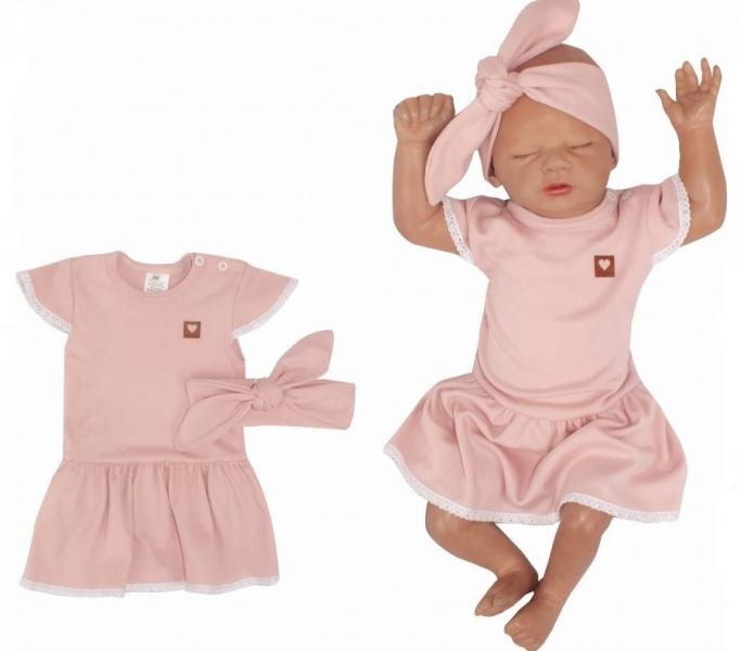 Z&Z 2-dílná sada sukničkobody kr. rukáv s krajkou + čelenka - růžová, vel. 86